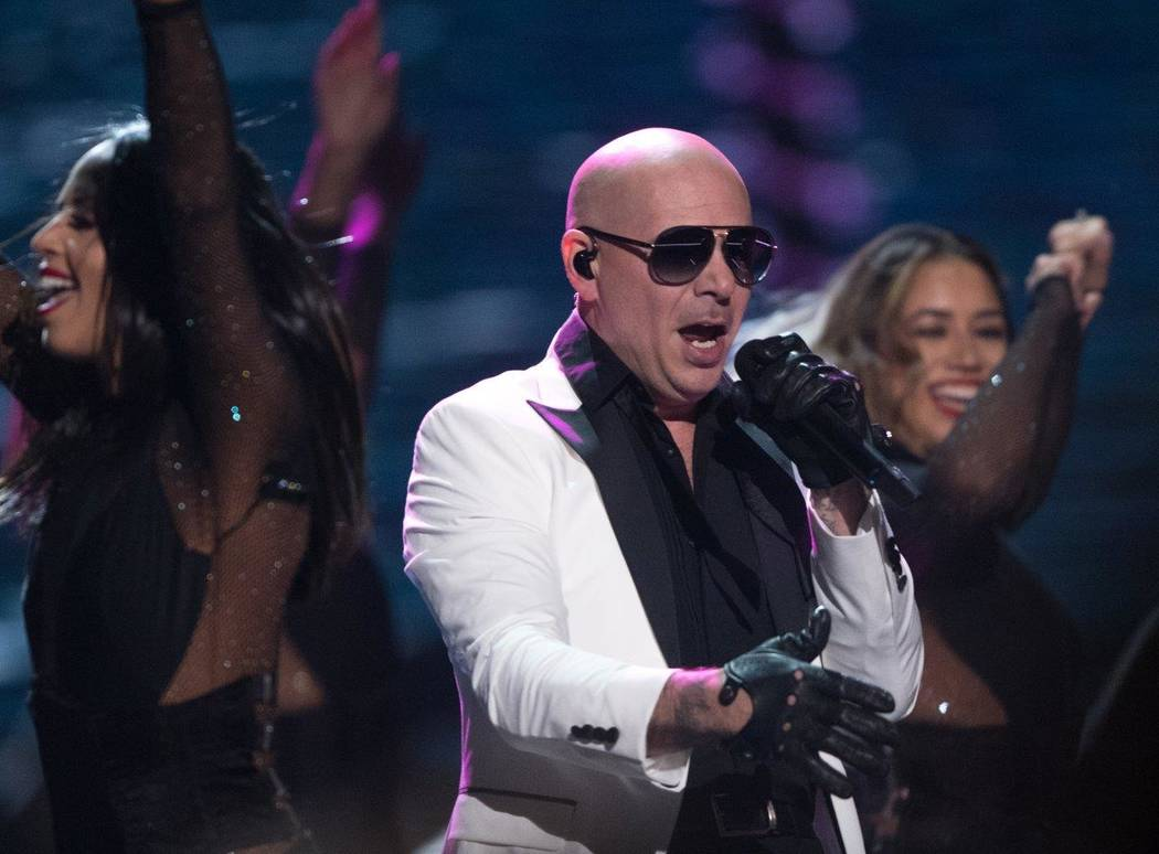 Pitbull performs during The Miss USA Pageant at Mandalay Bay Events Center on Sunday, May 14, 2017, in Las Vegas. (Tom Donoghue)
