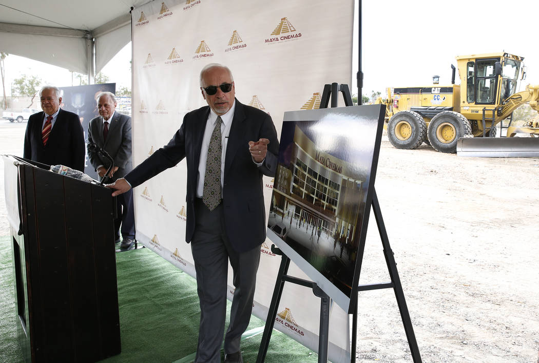 Frank Haffar, president and COO, Maya Cinemas, speaks during a groundbreaking ceremony for the construction of a 14-screen Maya Cinemas and entertainment center at 2195 Las Vegas Blvd. North, acro ...