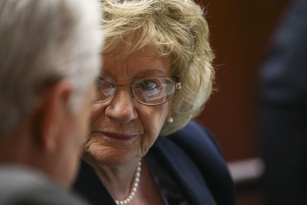 Sen. Joyce Woodhouse, D-Henderson, during the last day of the Nevada Legislature at the Legislative Building in Carson City on Monday, June 5, 2017. Chase Stevens Las Vegas Review-Journal @cssteve ...