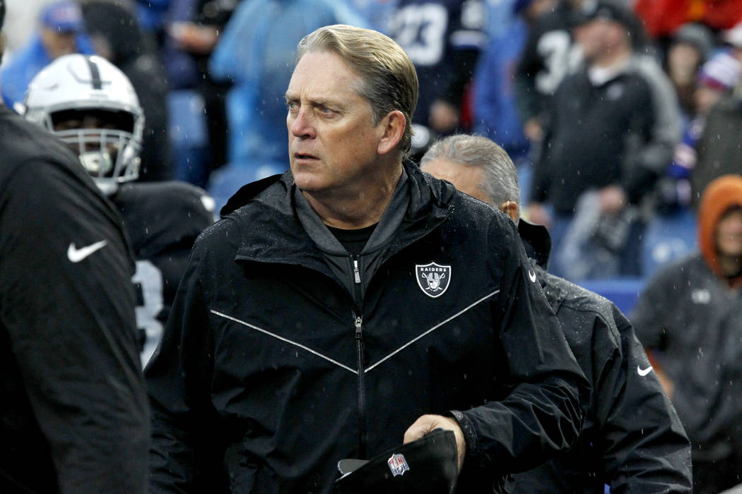 Oakland Raiders head coach Jack Del Rio leaves the field after his team warmed up prior to an NFL football game against the Buffalo Bills, Sunday, Oct. 29, 2017, in Orchard Park, N.J. (AP Photo/Je ...