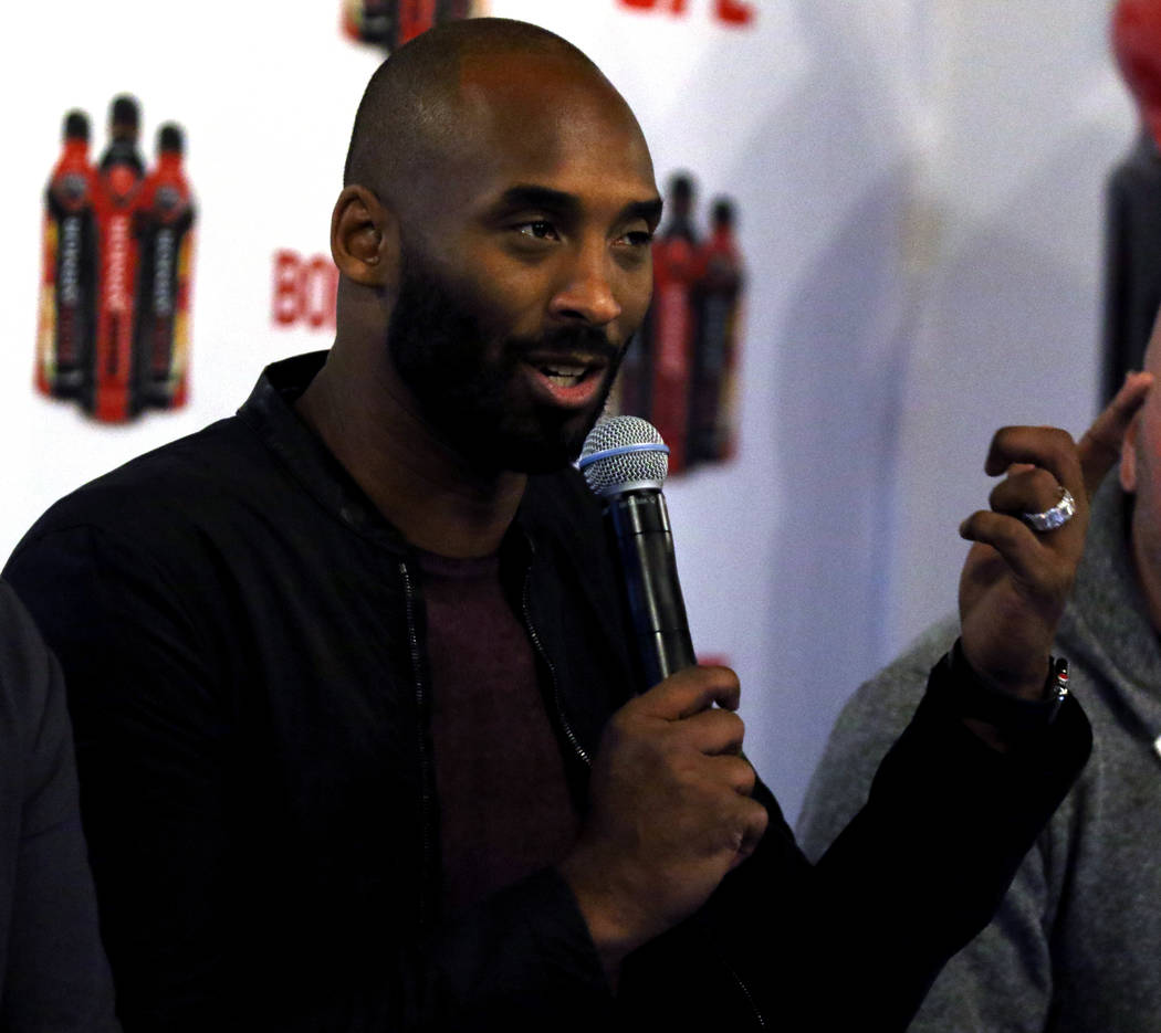 Retired Los Angeles Laker Kobe Bryant attends a Body Armor event during UFC 217 fight week in New York, New York, Thursday, Nov. 2, 2017. Heidi Fang Las Vegas Review-Journal @HeidiFang