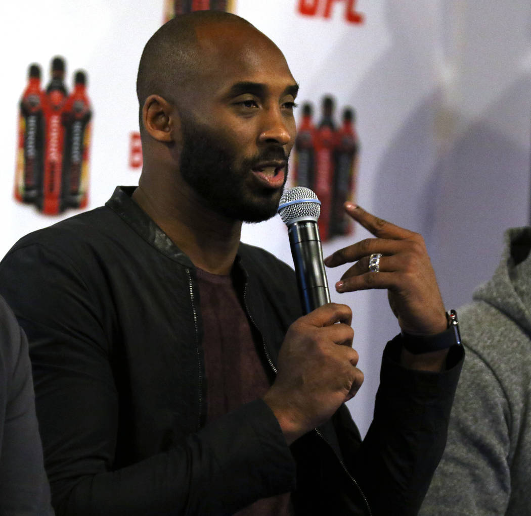 Retired Los Angeles Laker and NBA superstar Kobe Bryant attends a Body Armor event during UFC 217 fight week in New York, New York, Thursday, Nov. 2, 2017. Heidi Fang Las Vegas Review-Journal @Hei ...