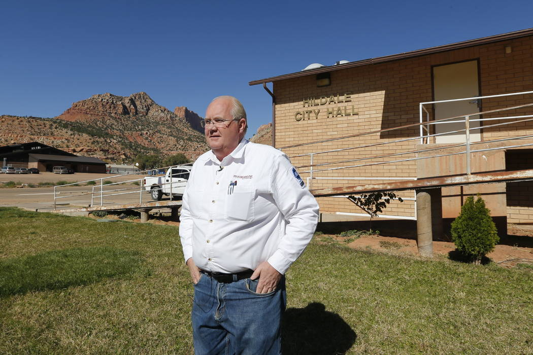 Hildale Mayor Phillip Barlow speaks during an interview in front of the city hall last month. (AP Photo/Rick Bowmer)