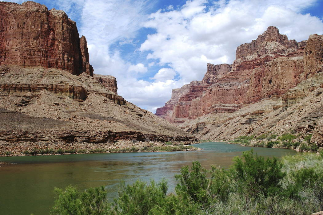 This undated photo provided by Confluence Partners, LLC, shows a view upstream on the Colorado River in the Grand Canyon at the site for a proposed aerial tram. (Confluence Partners, LLC via AP)