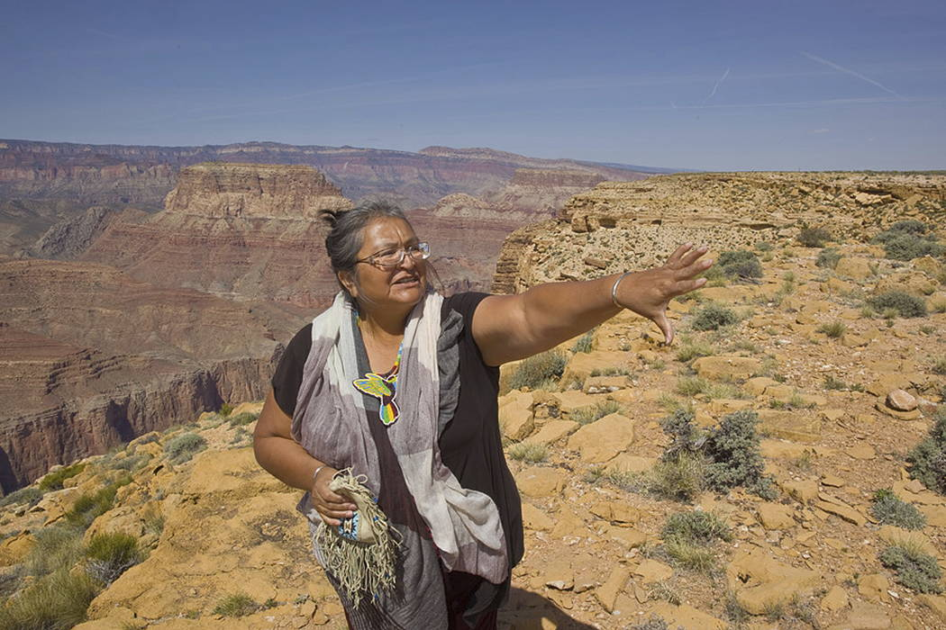 Renae Yellowhorse, a spokesperson for Save the Confluence, speaks at Confluence Overlook on the East Rim of the Grand Canyon on Navajo Nation west of The Gap, Ariz., in 2015. (Tom Bean via AP)