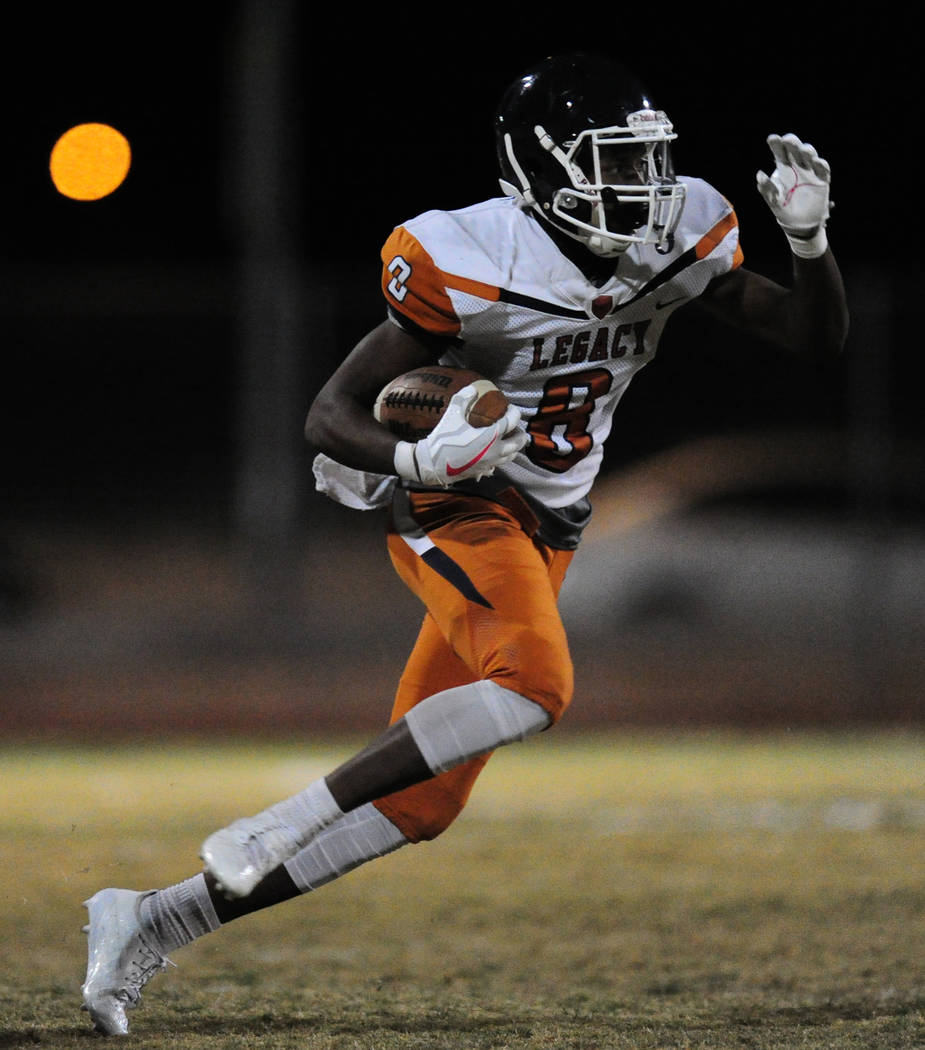 Legacy running back Jeffrey Allen rushes for a touchdown against Sierra Vista in the second half of their prep football game at Sierra Vista School in Las Vegas Friday November 3, 2017. Josh Holmb ...