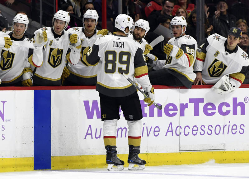 Nov 4, 2017; Ottawa, Ontario, CAN; Vegas Golden Knights forward Alex Tuch (89) reacts with teammates after scoring a goal against the Ottawa Senators during the first period at Canadian Tire Centr ...