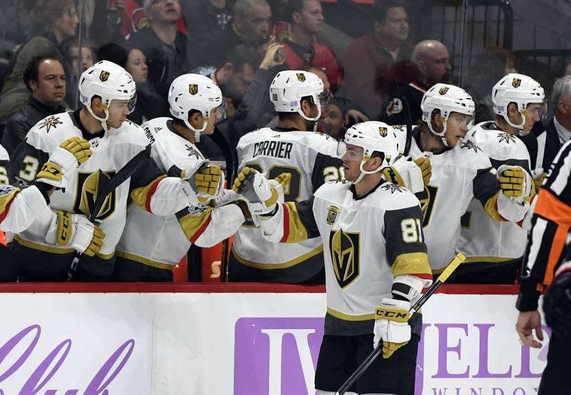 Nov 4, 2017; Ottawa, Ontario, CAN; Vegas Golden Knights forward Jonathan Marchessault (81) reacts with teammates after scoring a goal against the Ottawa Senators during the second period at Canadi ...