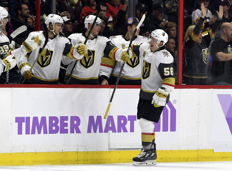 Nov 4, 2017; Ottawa, Ontario, CAN; Vegas Golden Knights forward Erik Haula (56) reacts with teammates after scoring a goal against the Ottawa Senators during the second period at Canadian Tire Cen ...