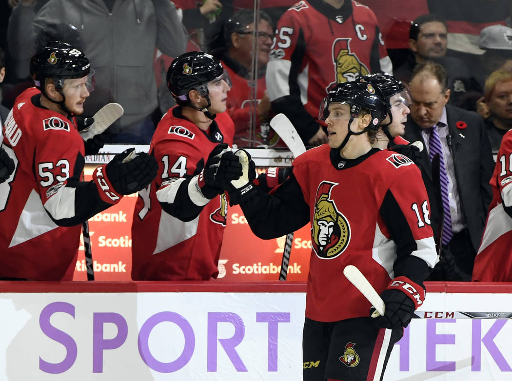 Nov 4, 2017; Ottawa, Ontario, CAN; Ottawa Senators forward Ryan Dzingel (18) reacts with teammates after scoring a goal against the Vegas Golden Knights during the third period at Canadian Tire Ce ...