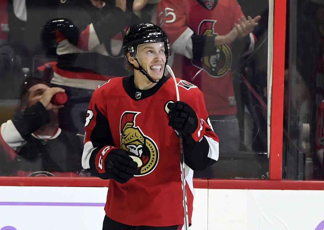 Nov 4, 2017; Ottawa, Ontario, CAN; Ottawa Senators forward Ryan Dzingel (18) reacts after scoring a goal against the Vegas Golden Knights during the third period at Canadian Tire Centre. Mandatory ...