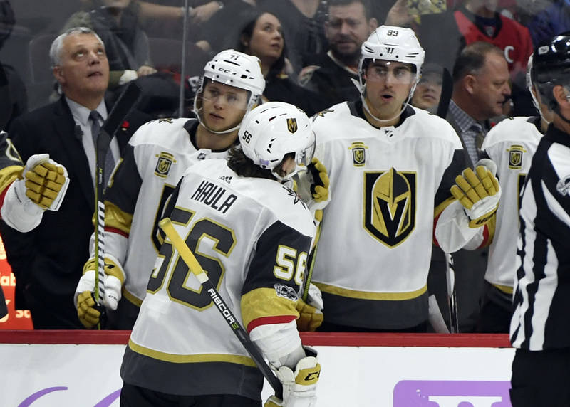 Nov 4, 2017; Ottawa, Ontario, CAN; Vegas Golden Knights forward Erik Haula (56) reacts with teammates after scoring a goal against the Ottawa Senators during the third period at Canadian Tire Cent ...