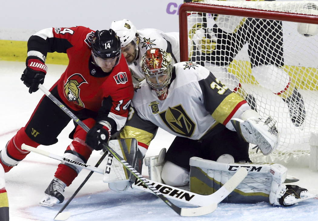 Ottawa Senators right wing Alexandre Burrows (14) scores on a backhand against Vegas Golden Knights goalie Maxime Lagace (33) during the second period of an NHL hockey game, Saturday, Nov. 4, 2017 ...
