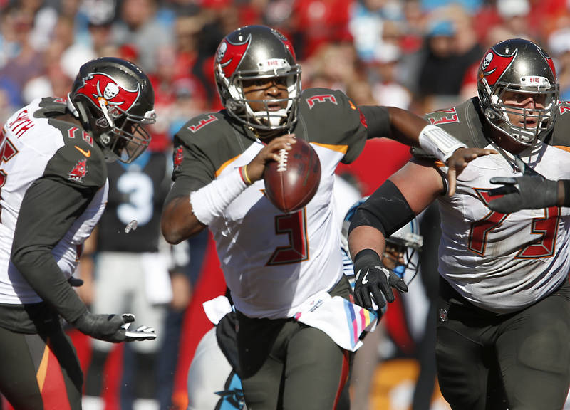 Oct 29, 2017; Tampa, FL, USA;Tampa Bay Buccaneers quarterback Jameis Winston (3) scrambles out of the pocket during the second half of a football game against the Carolina Panthers at Raymond Jame ...
