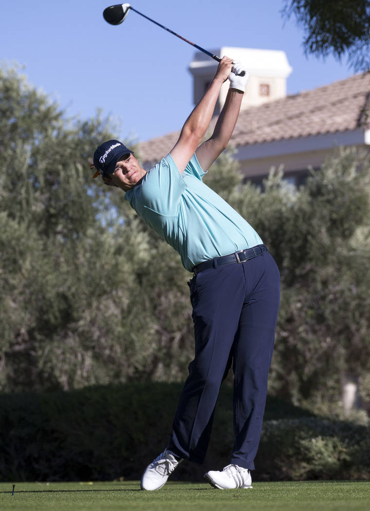 Beau Hossler of California tees off from the 16th hole during the third round of the Shriners Hospitals For Children Open tournament at TPC at Summerlin in Las Vegas, Saturday, Nov. 4, 2017. Richa ...