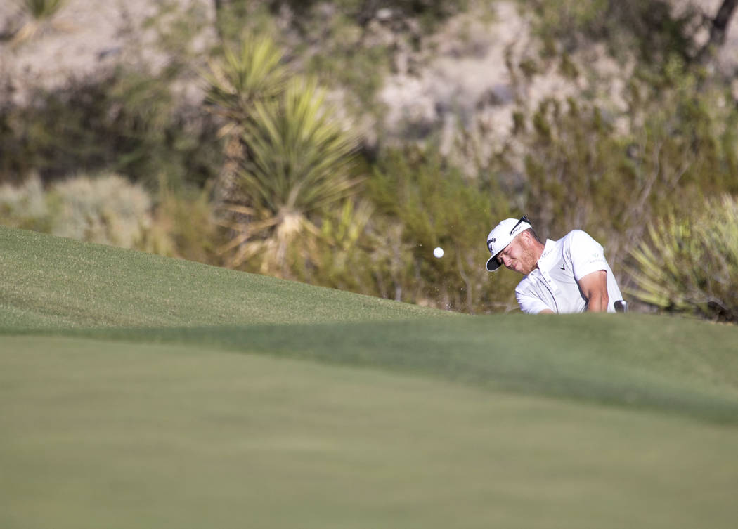 Talor Gooch of Oklahoma plays his shot on the 15th hole during the third round of the Shriners Hospitals For Children Open tournament at TPC at Summerlin in Las Vegas, Saturday, Nov. 4, 2017. Rich ...