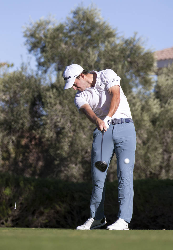 Patrick Cantlay hits a tee shot from the 16th hole during the third round of the Shriners Hospitals For Children Open tournament at TPC at Summerlin in Las Vegas, Saturday, Nov. 4, 2017. Richard B ...