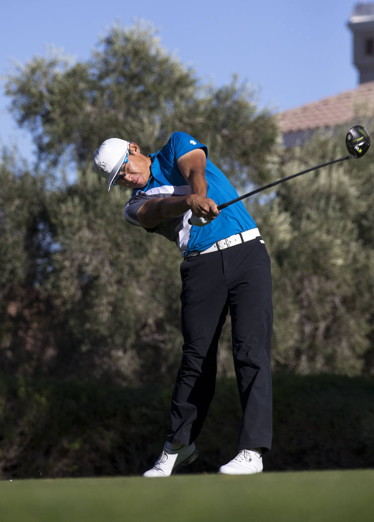 Whee Kim of South Korea hits a tee shot on the 16th hole during the third round of the Shriners Hospitals For Children Open tournament at TPC at Summerlin in Las Vegas, Saturday, Nov. 4, 2017. Ric ...