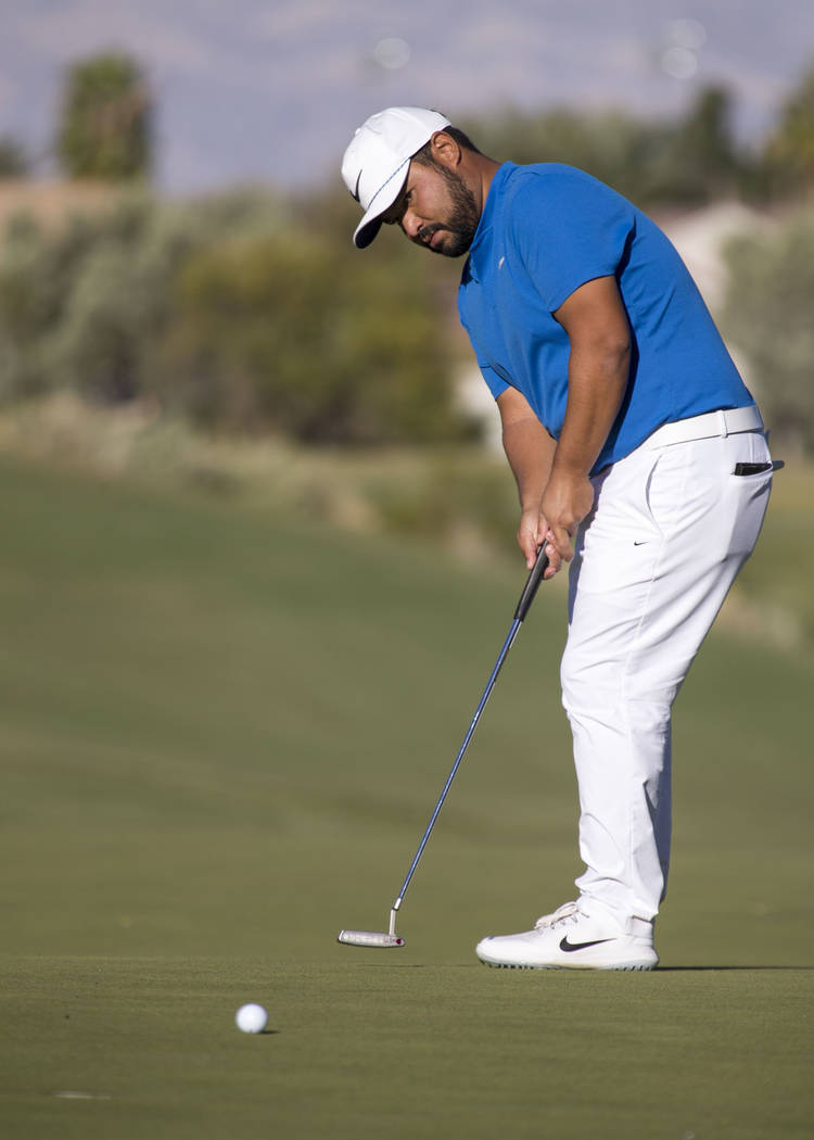 J.J. Spaun of California putts on the 15th hole during the third round of the Shriners Hospitals For Children Open tournament at TPC at Summerlin in Las Vegas, Saturday, Nov. 4, 2017. Richard Bria ...