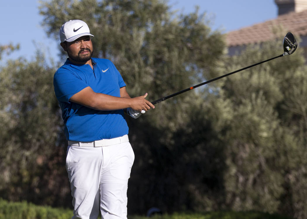 J.J. Spaun of California reacts to his tee shot on the 16th hole during the third round of the Shriners Hospitals For Children Open tournament at TPC at Summerlin in Las Vegas, Saturday, Nov. 4, 2 ...