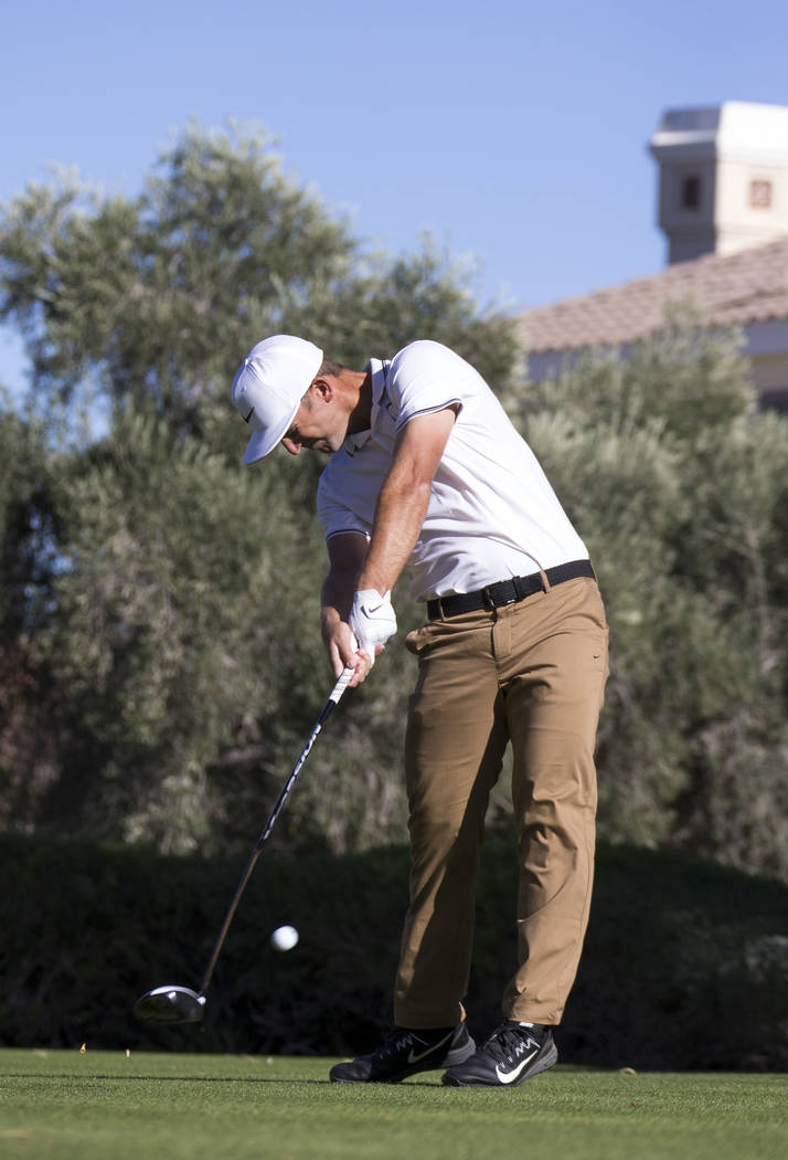 Kevin Chappell of California hits a tee shot on the 16th hole during the third round of the Shriners Hospitals For Children Open tournament at TPC at Summerlin in Las Vegas, Saturday, Nov. 4, 2017 ...