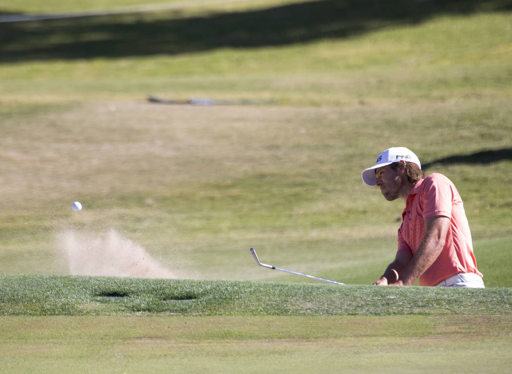 Aaron Baddeley plays a shot from the bunker on the ninth hole during the third round of the Shriners Hospitals For Children Open tournament at TPC at Summerlin in Las Vegas, Saturday, Nov. 4, 2017 ...