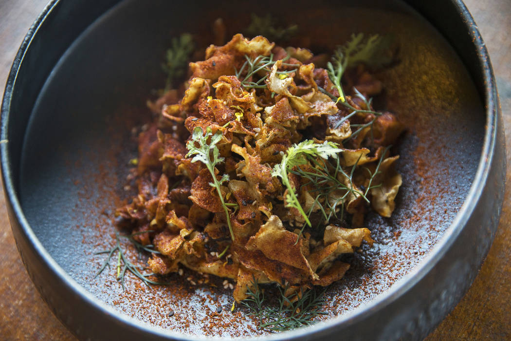 Maitake mushrooms with baked Turkish hummus, crispy sunchokes and cascabel chile at Sparrow + Wolf on Thursday, Nov. 2, 2017, in Las Vegas. Benjamin Hager Las Vegas Review-Journal @benjaminhphoto
