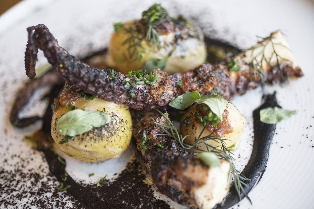 Spanish octopus with butter braised potato and XO sauce at Sparrow + Wolf on Thursday, Nov. 2, 2017, in Las Vegas. Benjamin Hager Las Vegas Review-Journal @benjaminhphoto