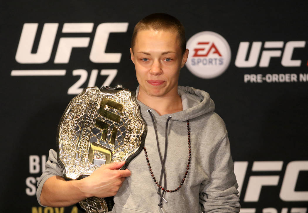 UFC strawweight champion Rose Namajunas at the UFC 217 post-fight news conference at the Madison Square Garden theater on Saturday, Nov. 4, 2017 in New York, New York. Heidi Fang Las Vegas Review- ...