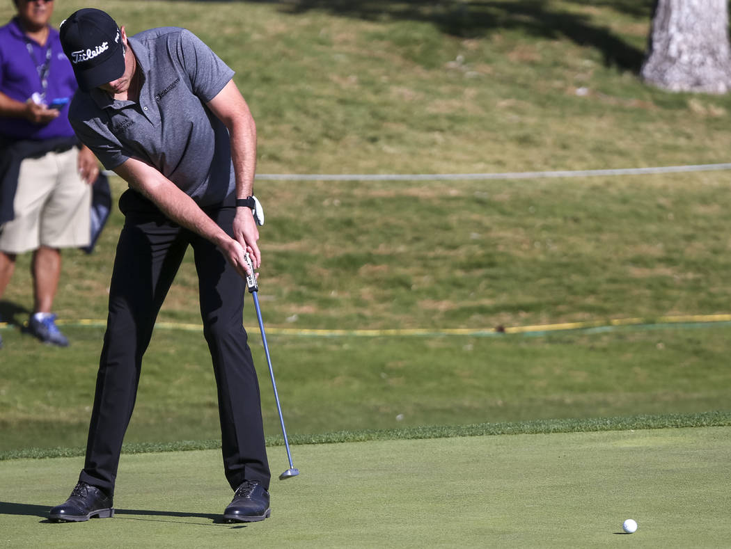 A.J. McInerney of Henderson putts on the ninth hole during the first round of the Shriners Hospitals For Children Open at TPC at Summerlin in Las Vegas, Thursday, Nov. 2, 2017. Richard Brian Las V ...