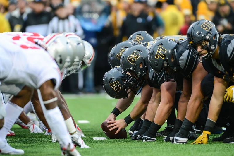 Nov 4, 2017; Iowa City, IA, USA; The line of scrimmage during the game between the Iowa Hawkeyes and the Ohio State Buckeyes during the second quarter at Kinnick Stadium. (Jeffrey Becker-USA TODAY ...