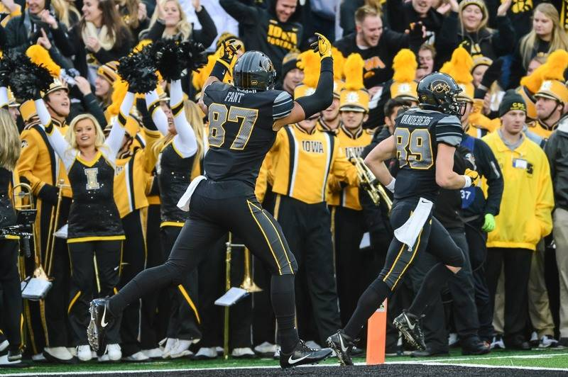 Nov 4, 2017; Iowa City, IA, USA; Iowa Hawkeyes tight end Noah Fant (87) celebrates his touchdown reception against the Ohio State Buckeyes during the second quarter at Kinnick Stadium. (Jeffrey Be ...
