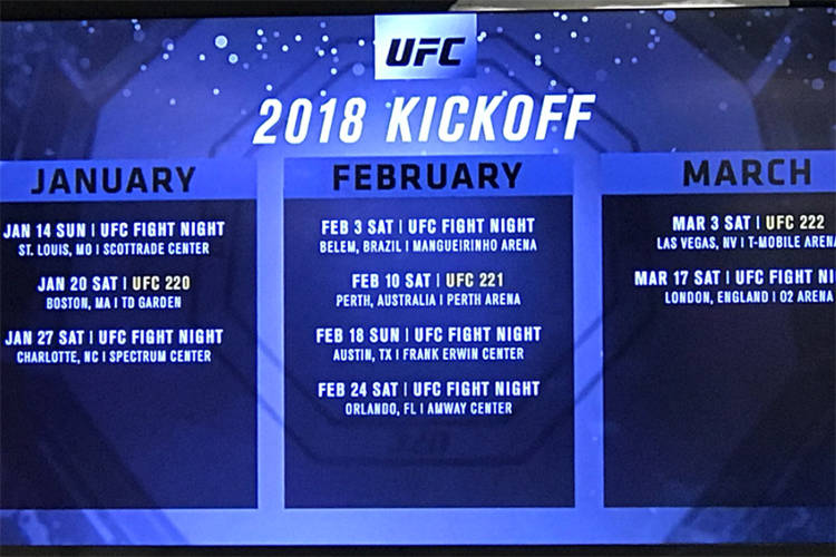 The UFC announced its 2018 first quarter schedule of events on Saturday, Nov. 4, 2017 during UFC 217 in New York, New York. (Heidi Fang/Las Vegas Review-Journal)