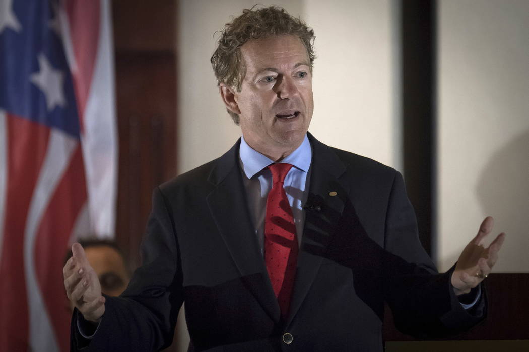 Sen. Rand Paul, R-Ky., speaks to supporters in Hebron, Ky., in August.  (AP Photo/Bryan Woolston, file)