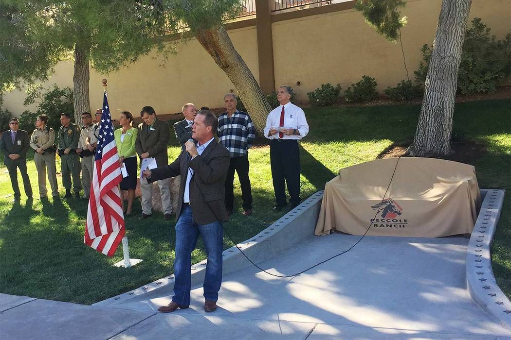 Nevada Lt. Gov. Mark Hutchison speaks Saturday, Nov. 4, 2017 in Las Vegas, during a Peccole Ranch community ceremony dedicating a bench commemorating the victims and first responders of the Oct. 1 ...