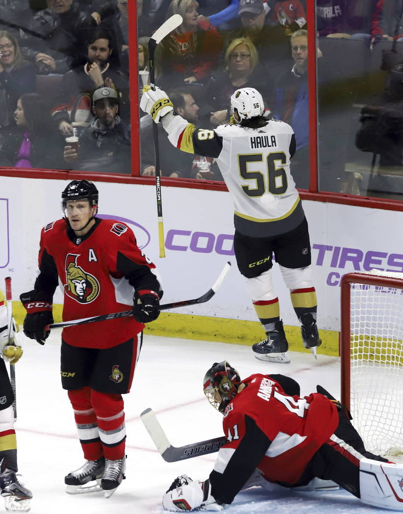 Vegas Golden Knights left wing Erik Haula (56) celebrates his goal as Ottawa Senators goalie Craig Anderson (41) and defenseman Dion Phaneuf (2) react during the third period of an NHL hockey game ...