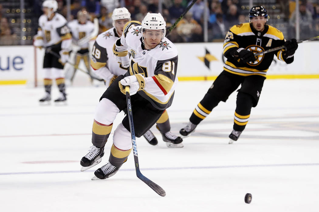 Vegas Golden Knights center Jonathan Marchessault chases a loose puck during the third period of Boston's 2-1 win over the Vegas Golden Knights in an NHL hockey game in Boston Thursday, Nov. 2, 20 ...