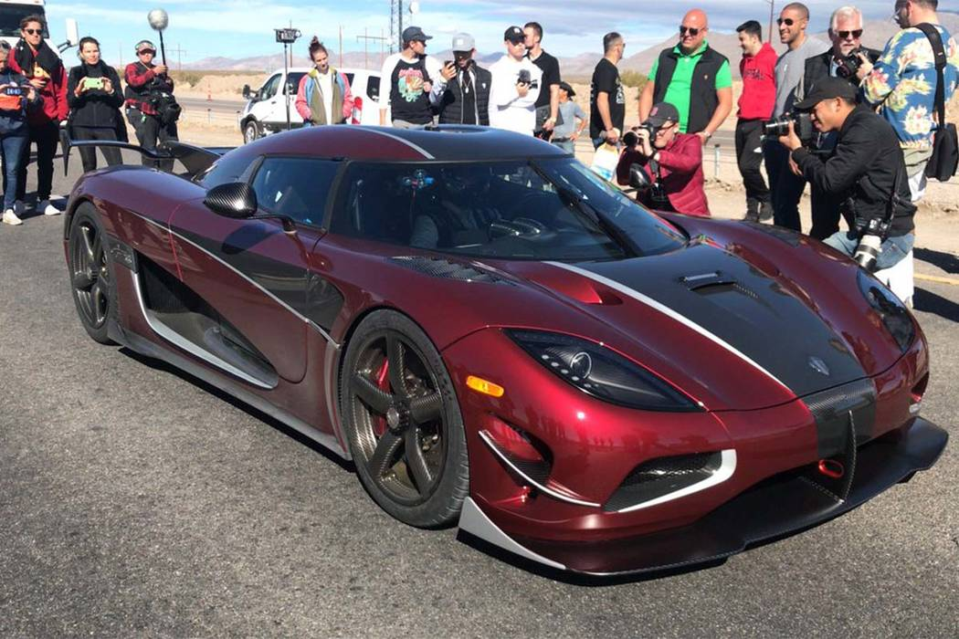 This 1,360-horsepower Koenigsegg Agera RS driven by factory driver Niklas Lilja established a high-speed record for production cars Saturday on an 11-mile section of state Route 160 between Las Ve ...