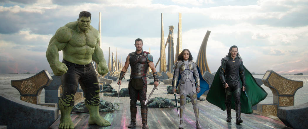"This image released by Marvel Studios shows the Hulk, from left, Chris Hemsworth as Thor, Tessa Thompson as Valkyrie and Tom Hiddleston as Loki in a scene from, ""Thor: Ragnarok."" ..."
