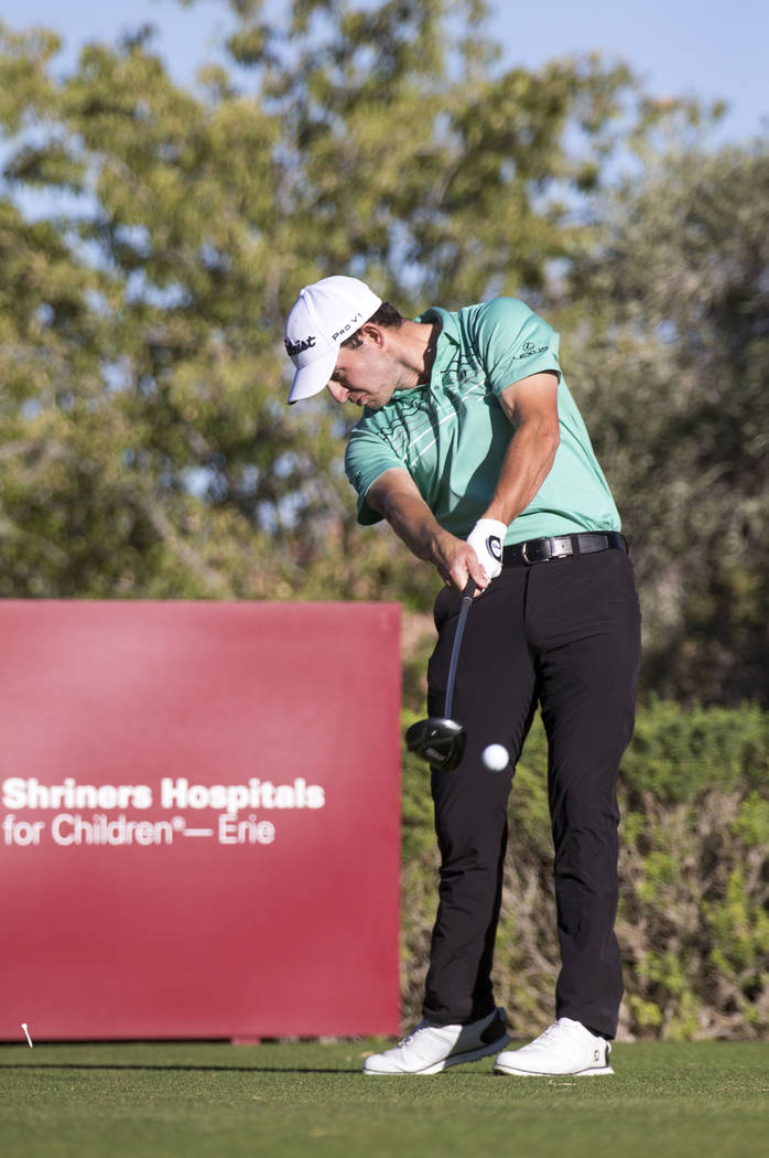 Patrick Cantlay of California plays a tee shot on the 16th hole during the final round of the Shriners Hospitals For Children Open at TPC at Summerlin in Las Vegas, Sunday, Nov. 5, 2017. Richard B ...