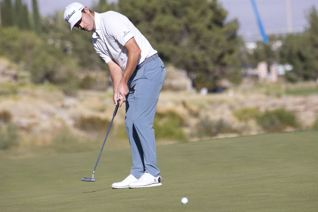 Patrick Cantlay of California putts on the 15th hole during the third round of the Shriners Hospitals For Children Open tournament at TPC at Summerlin in Las Vegas, Saturday, Nov. 4, 2017. Richard ...