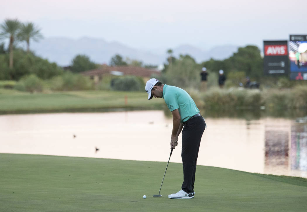 Patrick Cantlay of California putts on the 18th green during the second playoff hole to win the Shriners Hospitals For Children Open at TPC at Summerlin in Las Vegas, Sunday, Nov. 5, 2017. Richard ...