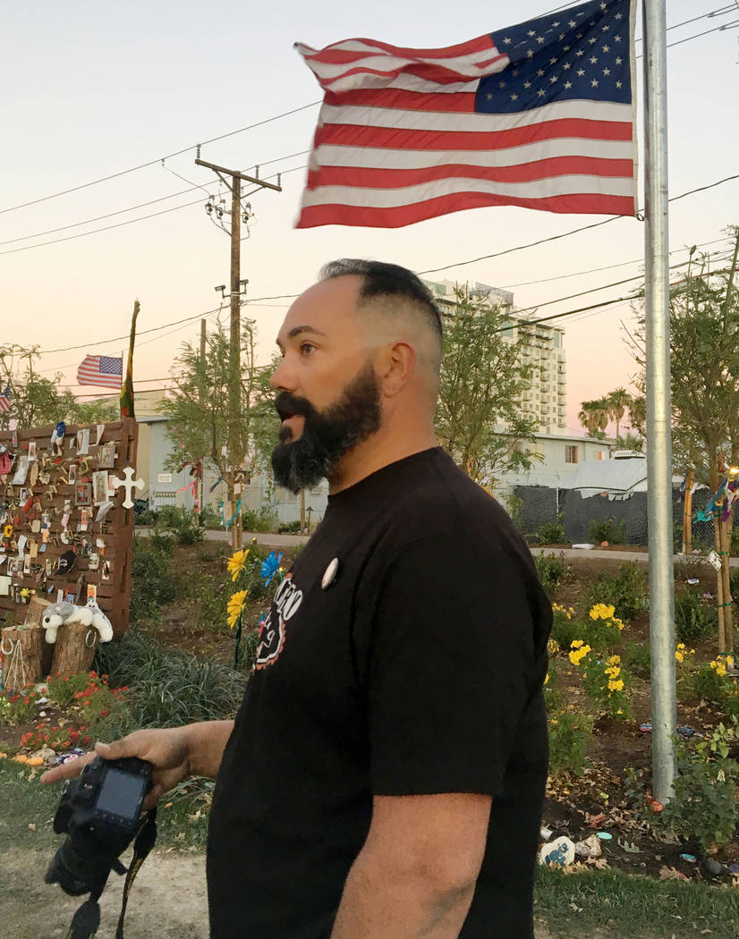 Route 91 Harvest festival survivor from Riverside California James Marrs visits Las Vegas for the first since the shooting, at the Las Vegas Community Healing Garden in Las Vegas, Sunday, Nov. 5,  ...