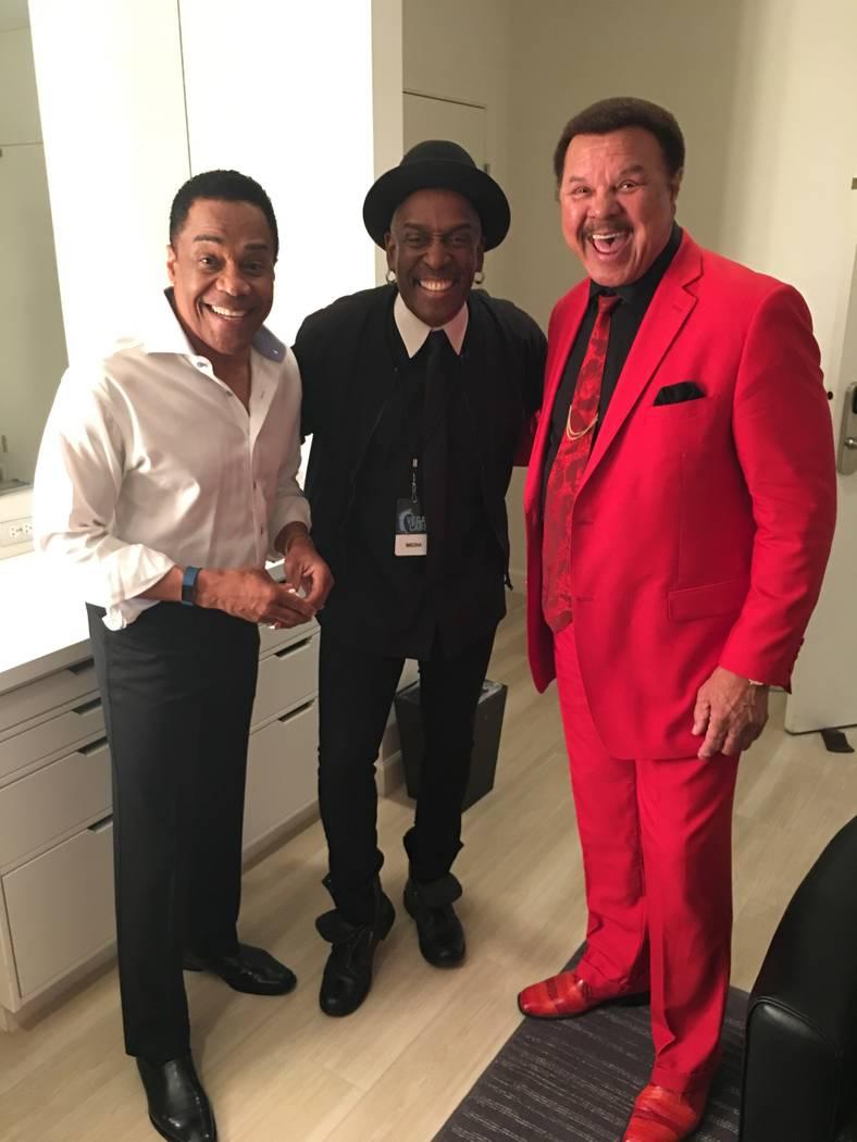 "Earl Turner, photographer Jerry Metellus and Sonny Charles are shown at The Venetian Theatre during ""Vegas Cares"" on Sunday, Nov. 5, 2017 (John Katsilometes/Las Vegas Review-Journal)"