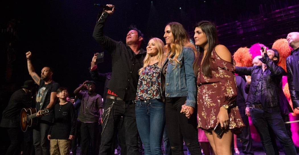 """Ben Carey, far left, and Bryan Hopkins of Elvis Monroe are shown with Jewel, Nicole Ruffino and Nicole Yorba at The Venetian Theatre during """"Vegas Cares"""" on Sunday, Nov. 5, 2017. (Tom Donoghue)"""