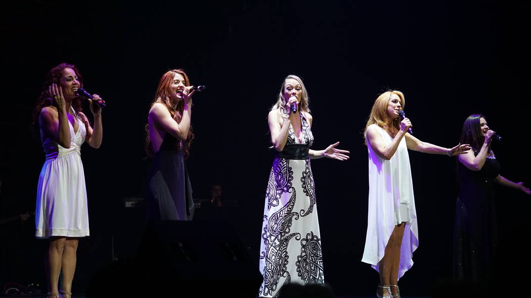 """Janien Valentine, Anne Martinez, Naomi Mauro, Kelly Clinton Holmes and Gret Menzies perform at The Venetian Theatre during """"Vegas Cares"""" on Sunday, Nov. 5, 2017 (Anthony Gainer)"""
