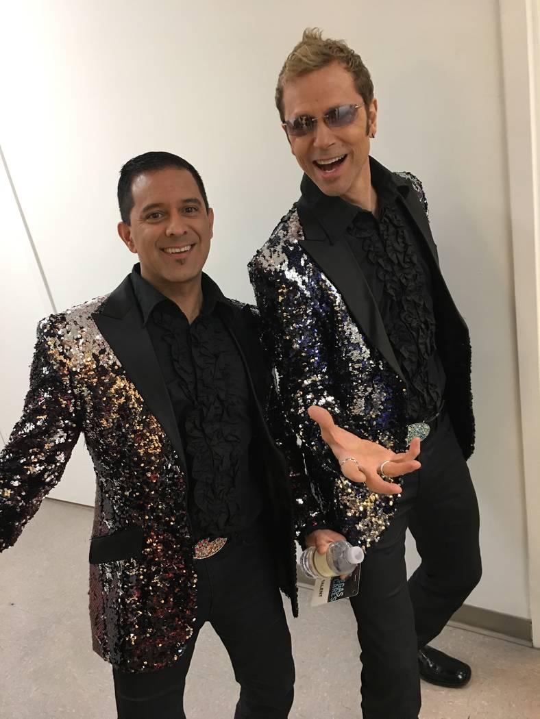 "Stratosphere headliners Jarrett & Raja are shown backstage at The Venetian Theatre during ""Vegas Cares"" on Sunday, Nov. 5, 2017 (John Katsilometes/Las Vegas Review-Journal)"