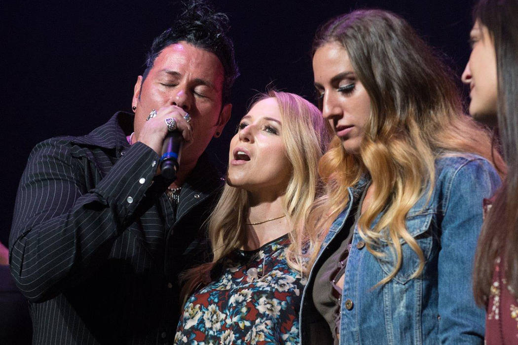 "Bryan Hopkins of Elvis Monroe, Jewel and Nicole Ruffino are shown at The Venetian Theatre during ""Vegas Cares"" on Sunday, Nov. 5, 2017. (Tom Donoghue)"