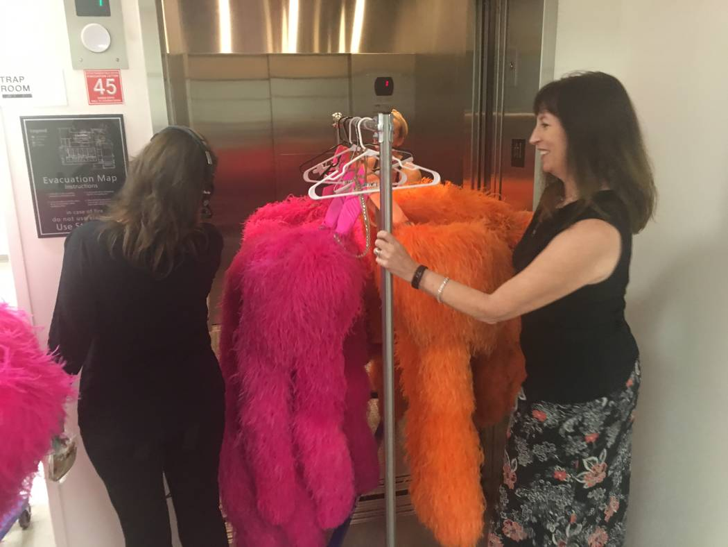 "Former ""Jubilee"" company manager Diane Palm rolls costumes from the show in to an elevator at The Venetian Theatre during ""Vegas Cares"" on Sunday, Nov. 5, 2017 (John Katsilometes/Las Vegas Review- ..."