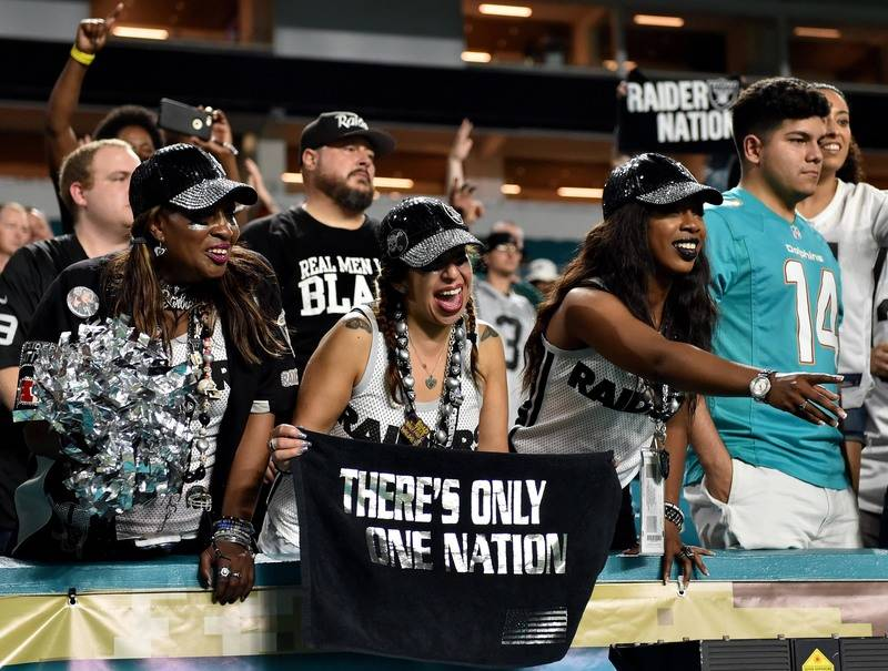 Nov 5, 2017; Miami Gardens, FL, USA; Oakland Raiders fans cheer after a game against the Miami Dolphins at Hard Rock Stadium. Mandatory Credit: Steve Mitchell-USA TODAY Sports
